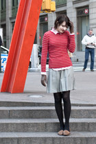thrifted sweater - thrifted skirt - thrifted gloves - thrifted loafers