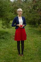 thrifted vintage skirt - Joe Fresh tights - thrifted vintage cardigan