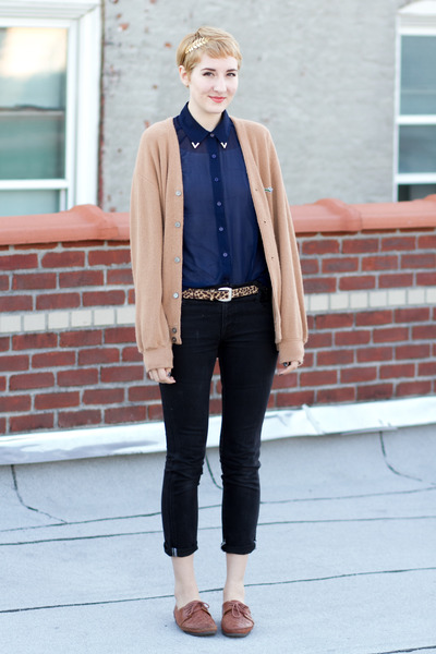 thrifted jeans - gift cardigan - thrifted belt - asos blouse - thrifted flats