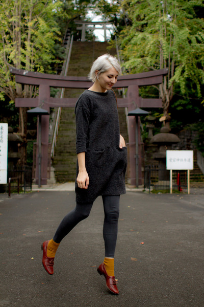 niko and dress - mustard brown Harajuku socks - thrifted vintage loafers