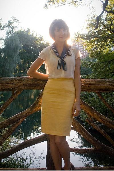 vintage estate sale scarf - Vintage Thrifted skirt - Vintage Thrifted blouse