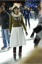 off white vintage hat - olive green vintage sweater - off white vintage skirt