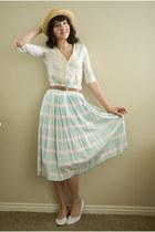 vintage hat - vintage skirt - thrifted cardigan - thrifted belt