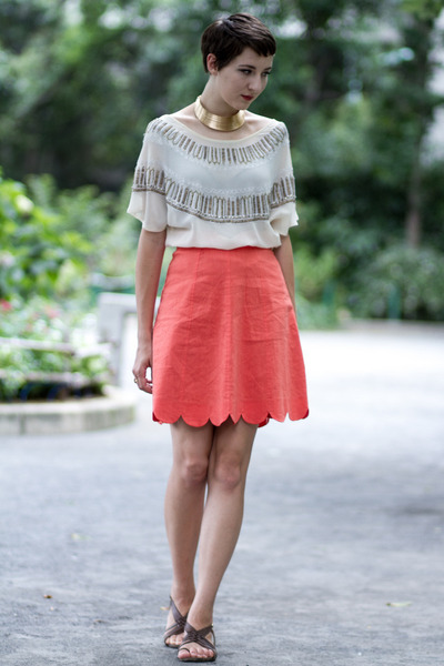 Japan skirt - Urban Outfitters blouse - vintage necklace