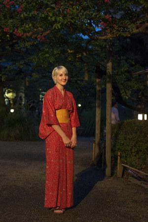 red vintage yukata vintage dress