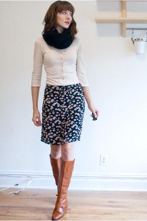 vintage boots - H&M scarf - vintage cardigan - Esprit skirt