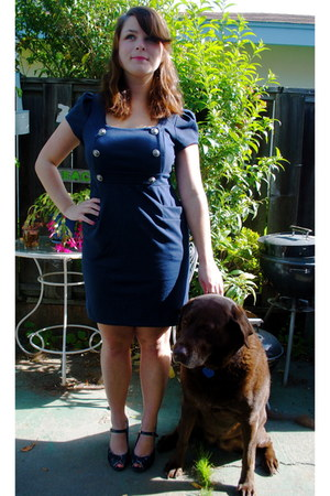 navy cotton unknown dress - navy patent leather Steve Madden heels