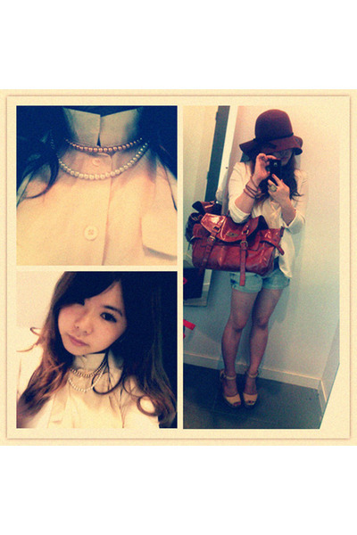 ivory blouse - brown hat - white blazer - violet shorts - eggshell necklace
