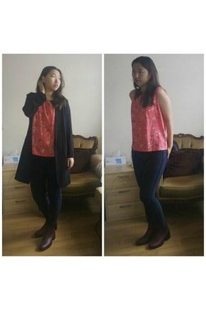 new look coat - new look boots - new look jeans - Miss Selfridge top