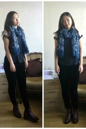 new look boots - Missguided leggings - asos scarf