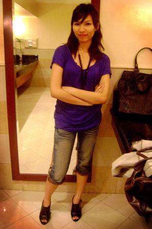 blue blouse - blue pants - black shoes - black accessories