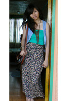 bag - maxi skirt - vest