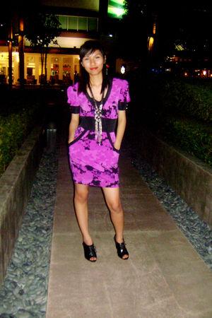 purple own design dress - black random shoes - silver accessories - brown LV pur