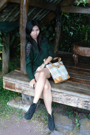 green top - green Forever 21 skirt - black Pill boots - coach bag