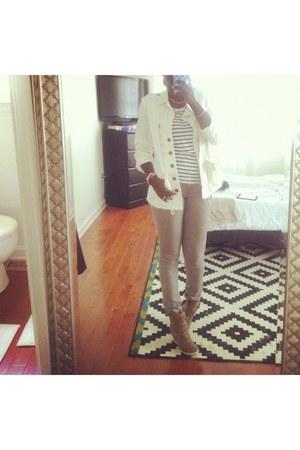 white jacket - wedge sneakers