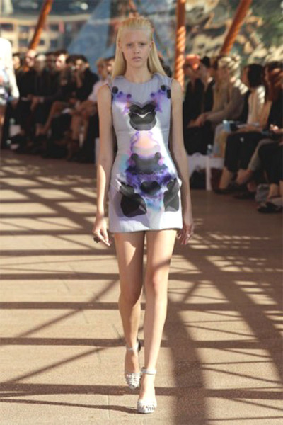 purple Dion Lee dress - white unknown brand shoes