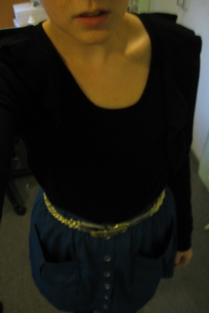 Country Road sweater - vintage belt - vintage skirt