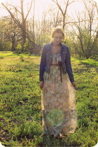 vintage Candi Jones California dress - denim Gap jacket - leather Fossil bag