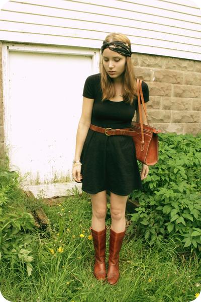 209b5a5e78f74 black Forever 21 dress - dark brown vintage Laredo boots - black silk head  scarf