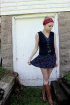 leather volatile boots - thrifted floral dress - vintage Valentina Fiore scarf -