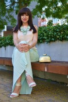 aquamarine more & more skirt - gold Parfois bag - cream Koton top