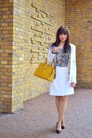 turquoise blue BonPrix blouse - ivory More&More blazer - yellow nucelle bag