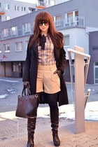 beige more & more shirt - black leather Hoegl boots - black Zara coat
