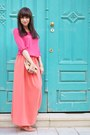 Straw-parfois-bag-coral-leather-elle-sandals-coral-maxi-skirt-handmade-skirt