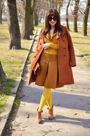 tawny leather Vasetopanky shoes - tawny Hallhuber coat - tawny Zoot bag