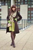 dark brown unknown coat - dark brown leather boots Footwork boots