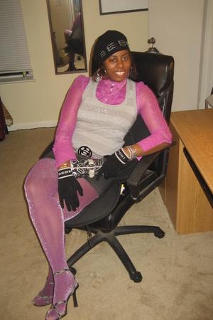 silver Bebe vest - purple Bebe shirt - purple Bebe stockings - black Bebe shoes