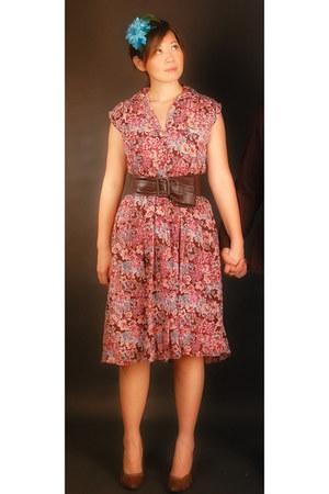 from my mom vintage dress - headpiece DIY accessories - dark brown CMG heels - d