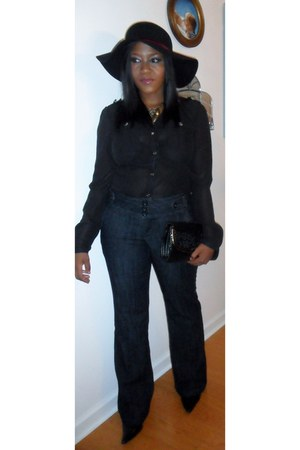 black boots - dark gray dark jeans jeans - black hat - black vintage bag bag