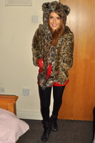 tawny Mink Pink coat - Spirit Hood accessories - Topshop gloves - Topshop shorts