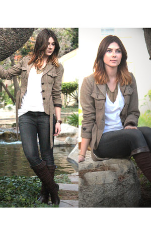 brown Zara jacket - dark brown Steve Madden boots - dark gray Forever 21 jeans