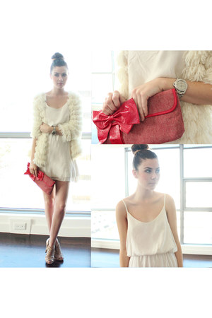 ivory Audrey 31 coat - white Brandy & Melville dress - red Betsey Johnson bag