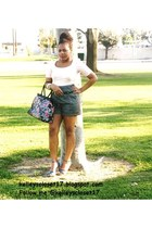 purse unknown brand purse - shorts Forever 21 shorts - shoes Bongo heels - top u