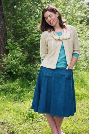denim Kellie Falconer skirt - oatmeal thrifted cardigan