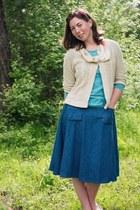 denim Kellie Falconer skirt - oatmeal thrifted cardigan