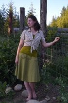 floral thrifted blouse - olive green linen Kellie Falconer skirt