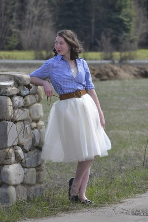 ivory tulle Kellie Falconer skirt - thrifted belt
