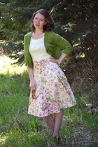 rose Kellie Falconer skirt - green crochet Tulle cardigan