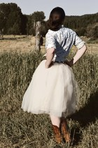 tulle Kellie Falconer skirt - cowboy boots - western blouse