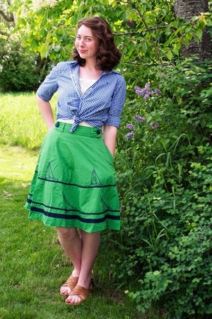 blue gingham Ralph Lauren blouse - kelly green eShakti skirt