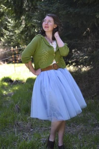 crochet Tulle cardigan - bluebell tulle Kellie Falconer skirt