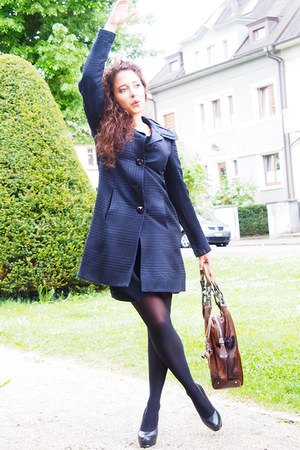 blue lanvin skirt - black Yves Saint Laurent shoes - blue Moschino coat