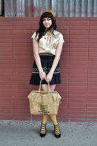 beige vintage from Yoshi Now bag - black july wedge Jeffrey Campbell shoes