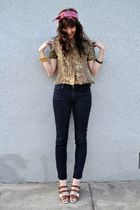 pink vintage scarf - gold vintage blouse - BDG jeans - brown elemenoe shoes - bl