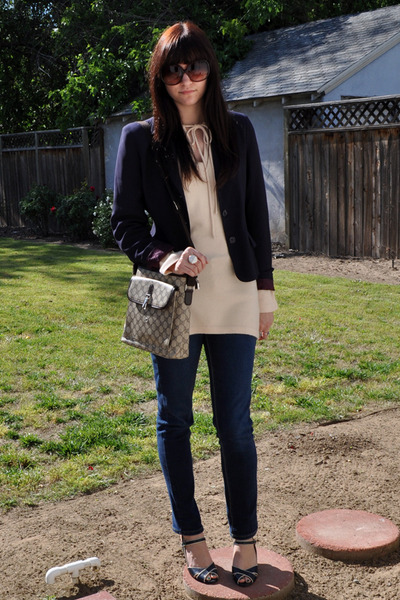 brown thrifted Gucci bag - blue Circa Joan & David shoes - blue skinny BDG jeans