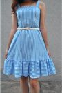 Blue-vintage-dress-white-vintage-belt-white-vintage-shoes